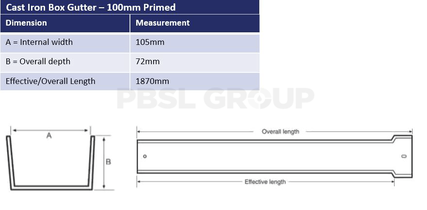 100mm Primed Cast Iron Box Gutter Dimensions