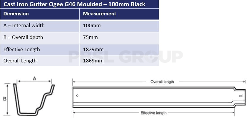 100mm Ogee G46 Dimensions
