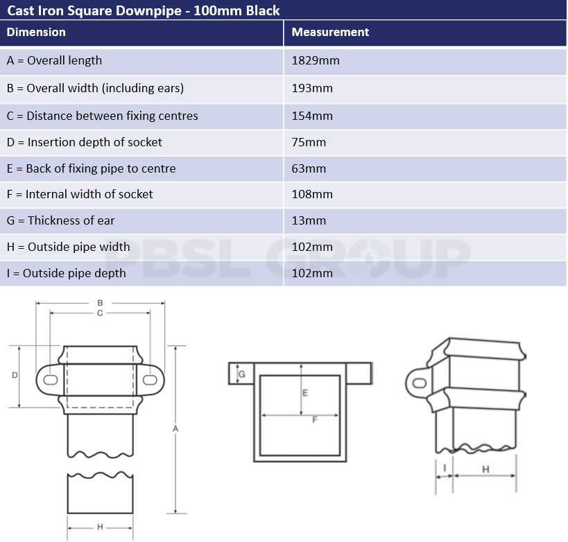 100mm Black Cast Iron Square Downpipe Dimensions