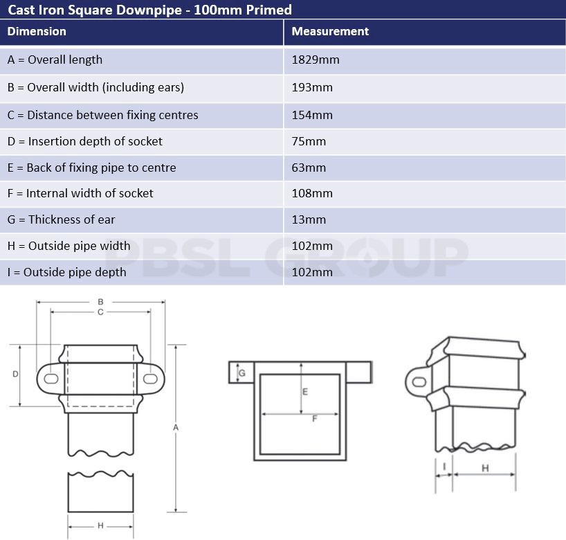 100mm Primed Cast Iron Square Downpipe Dimensions