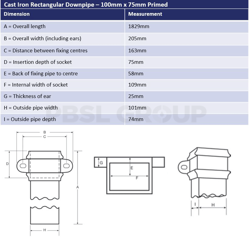 100mm x 75mm Primed Cast Iron Rectangular Downpipe Dimensions