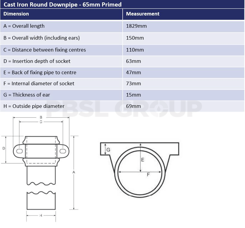 65mm Primed Cast Iron Round Downpipe Dimensions