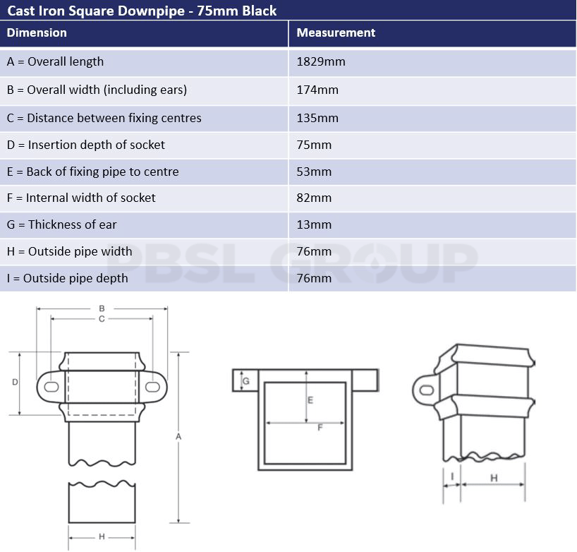 75mm Black Cast Iron Square Downpipe Dimensions